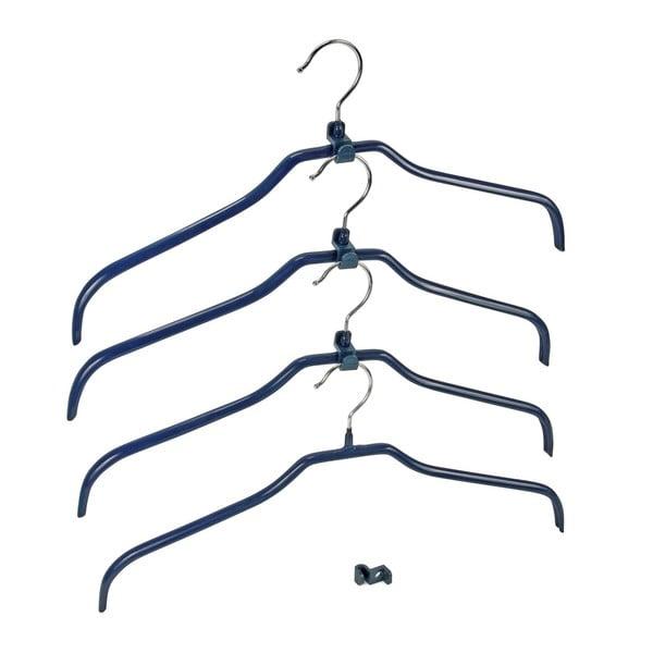 Komplet 4 niebieskich antypoślizgowych wieszaków na ubranie i uchwytów Wenko Hanger Slim