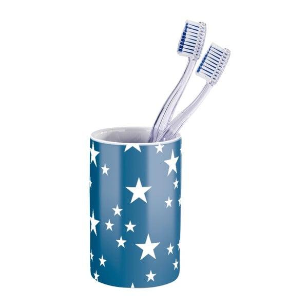 Modrobílý kelímek na zubní kartáčky Wenko Stella Blue