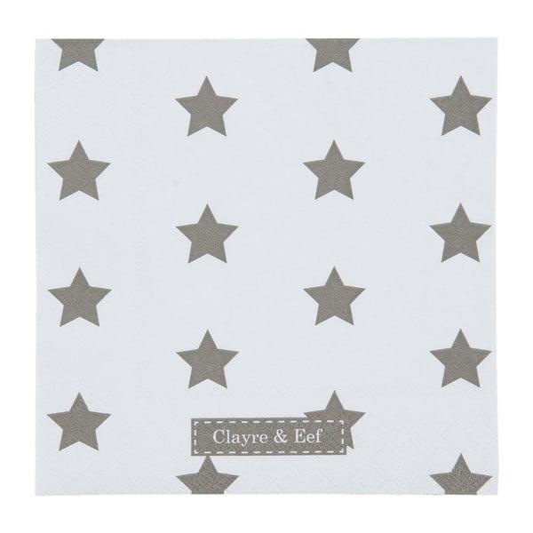 Bílé ubrousky Clayre & Eef Xmas Star, 20ks