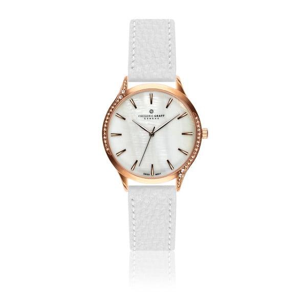 Dámske hodinky s bielym remienkom z pravej kože Frederic Graff Panguro