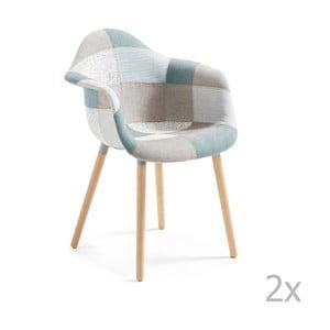 Set 2 scaune cu picioare din lemn și cotiere La Forma Kenna, albastru - gri