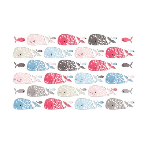 Samolepka na zeď Fishes and whales, 20x30 cm