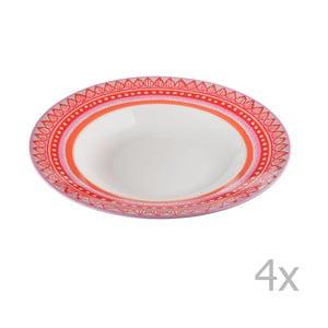 Set 4 farfurii pentru supă, din porțelan Oilily 24,5 cm, roșu