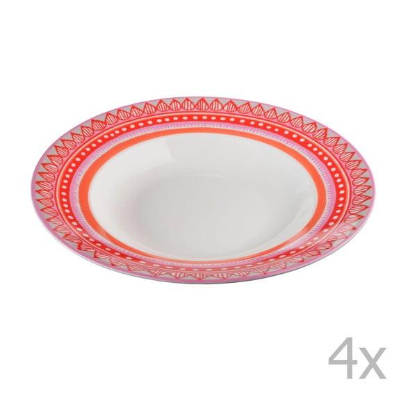 Sada 4 porcelánových talířů na polévku Oilily 24,5 cm, červená