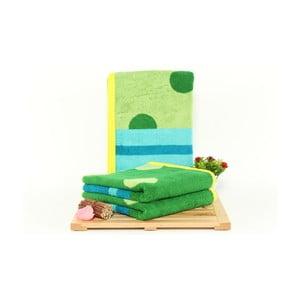 Sada 3 zeleno-modrých osušek Punkte Grass, 50x100cm