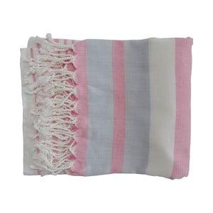 Růžovo-šedá ručně tkaná osuška z prémiové bavlny Homemania Rio Hammam,100x180 cm