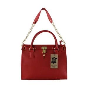 Červená kožená kabelka Chicca Borse Anne