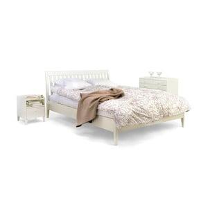 Bílá ručně vyráběná postel z masivního březového dřeva Kiteen Matinea, 160x200cm