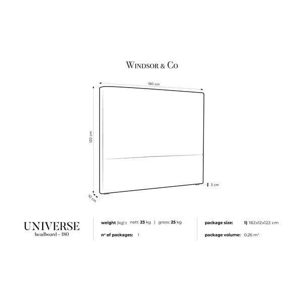 Tmavě šedé čelo postele Windsor & Co Sofas UNIVERSE, 180x120cm