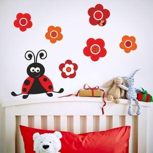 Samolepka na zeď Beruška a květy, 70x50 cm