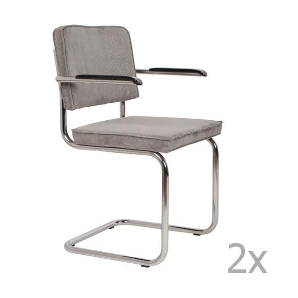 Set 2 scaune cu cotiere Zuiver Ridge Rib, gri deschis