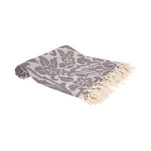 Tmavě šedá ručně tkaná osuška Ivy's Nesrin, 100x180cm
