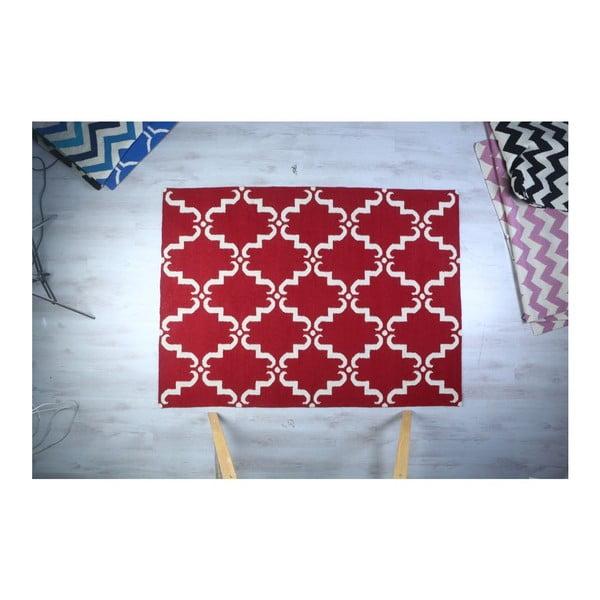 Vlněný koberec Geometry Home Red & White, 200x300 cm