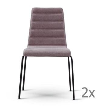 Set 2 scaune dining cu picioare negre Garageeight, gri - maro