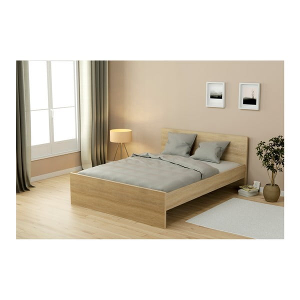 Dvoulůžková postel v dekoru dubového dřeva Parisot Adrienne, 140x190cm
