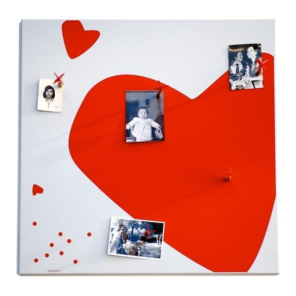Magnetická nástěnka dESIGNoBJECT.it Red Heart,50x50cm