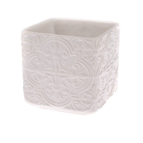 Kremowa doniczka ceramiczna Dakls Rusto, wys. 15 cm