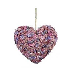 Inimă decorativă Ego Dekor, roz, flori