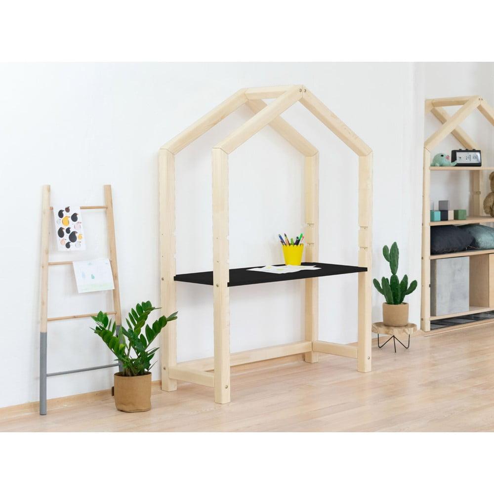 Přírodní dřevěný domečkový stůl s černou deskou Benlemi Stolly, 97 x 133 cm