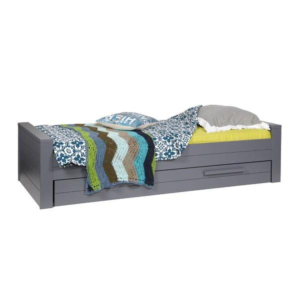 Ocelově šedá postel De Eekhoorn Dennis 90x200cm