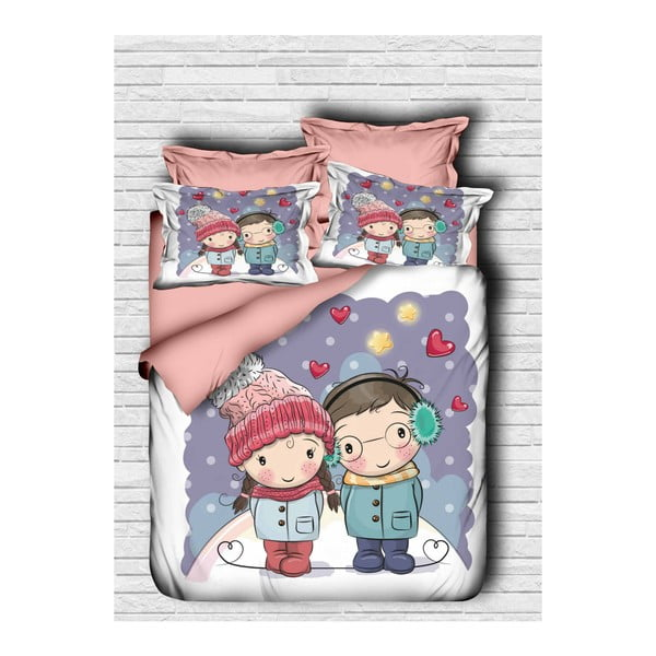 Lenjerie de pat cu cearșaf Lovers ,200x220cm