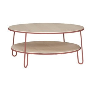 Masă de cafea, construcție metalică HARTÔ Eugénie, ⌀ 90 cm, roz