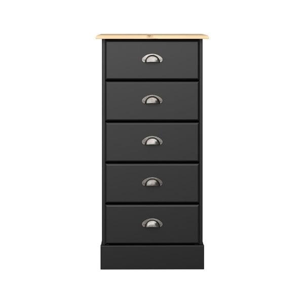 Comodă cu 5 sertare Steens Nola, înălțime 91 cm, negru