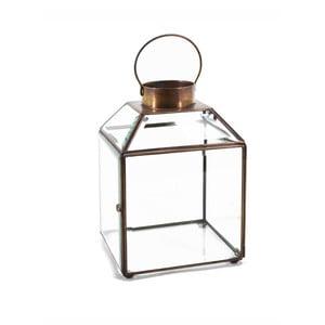Skleněná lucerna s kovovým rámem Moycor Bisel, výška 20 cm