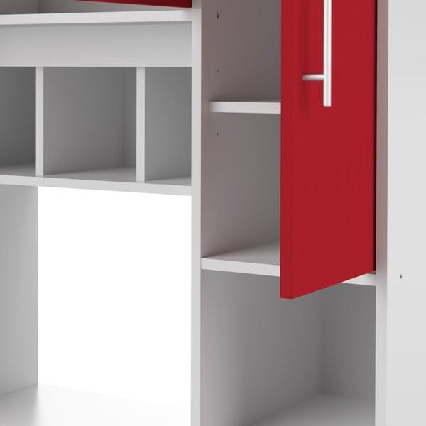 Červeno-bílý kuchyňský úložný systém s policemi TemaHome Louise