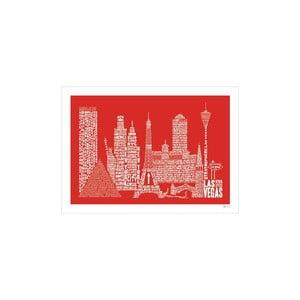 Plakát Las Vegas Red&White, 50x70 cm