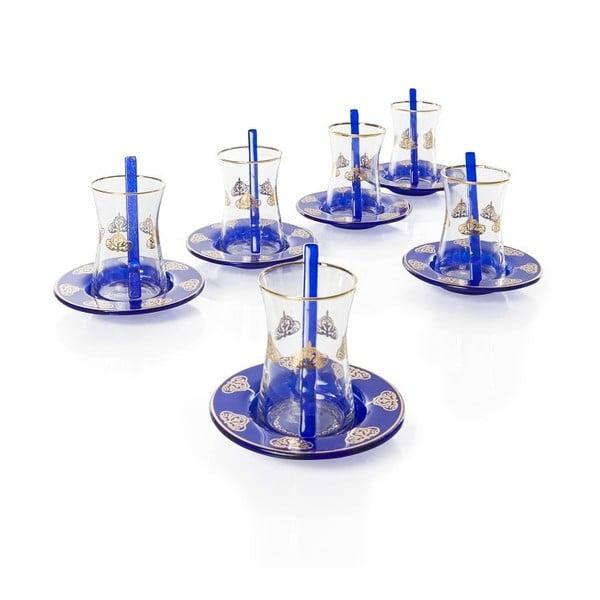 Tmavě modrý 18dílný skleněný čajový set Mezzo