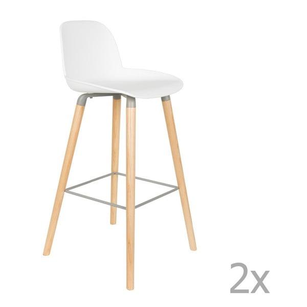 Sada 2 bílých barových židlí Zuiver Albert Kuip, výška sedu 75cm