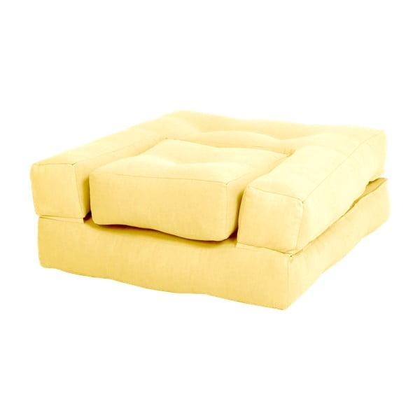 Žluté dětské rozkládací křesílko s taburetkou Karup Mini Cube