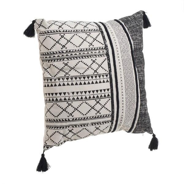 Czarno-biała poduszka z frędzlami InArt Tribe, 45x45 cm