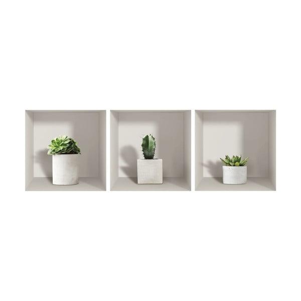 Sada 3 3D samolepek na zeď Ambiance Cactus