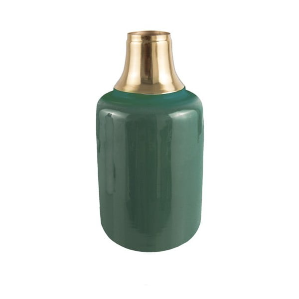Vază cu detalii aurii PT LIVING Shine, înălțime 28 cm, verde