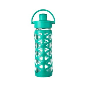 Sticlă de voiaj, din sticlă cu protecție din silicon, Lifefactory Aquatic Activ, 475 ml