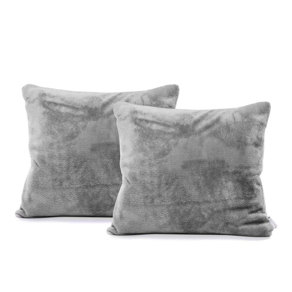 Sada 2 šedých povlaků na polštáře DecoKing Mic, 45 x 45 cm