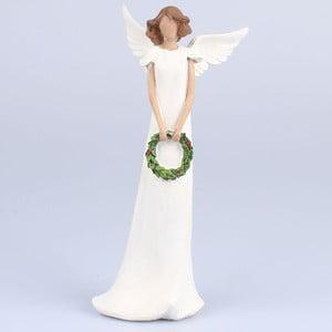 Bílý dekorativní anděl s věncem Dakls