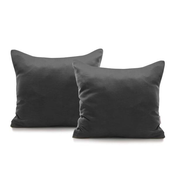 Komplet 2 ciemnoszarych bawełnianych poszewek na poduszki DecoKing Amber Dimgray, 40x40 cm