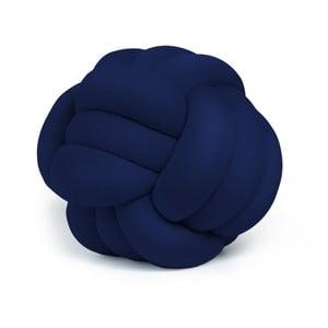 Tmavě modrý polštář Knot Decorative Cushion Velvet Effect, ⌀ 45 cm