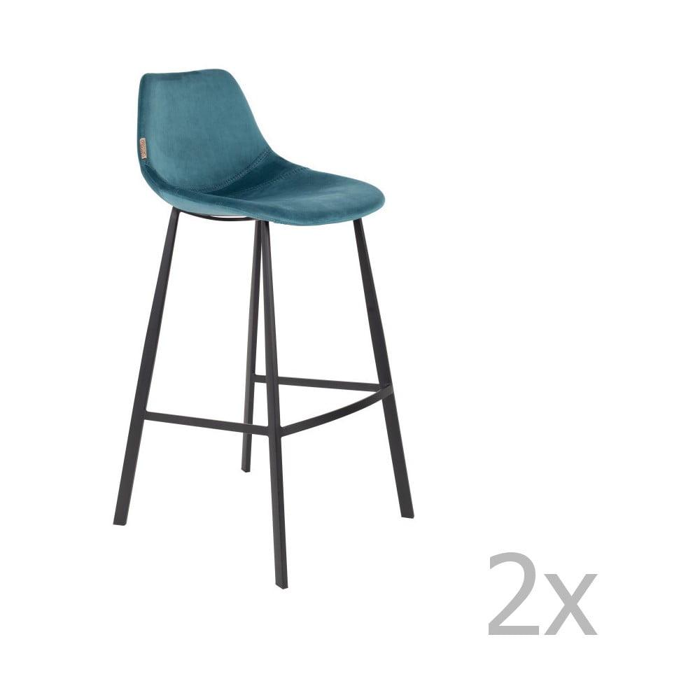 Sada 2 petrolejově modrých barových židlí se sametovým potahem Dutchbone, výška 106 cm
