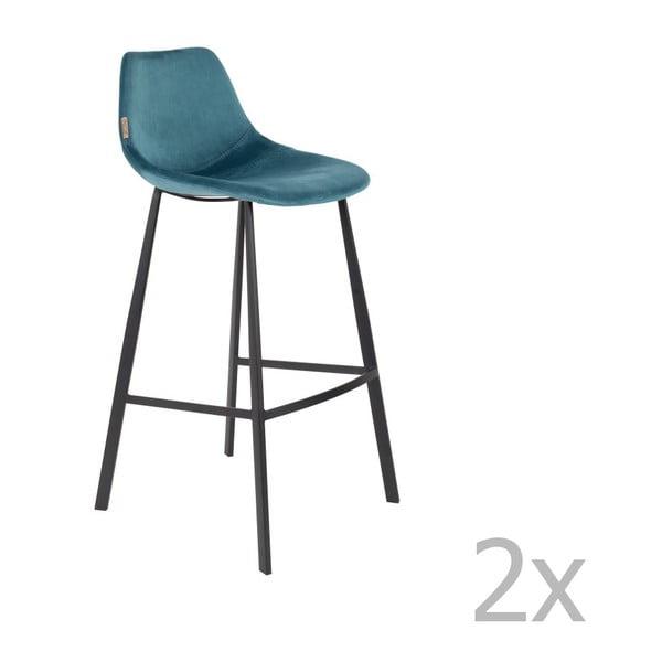 Set 2 scaune bar cu tapițerie catifelată Dutchbone, înălțime 106 cm, albastru petrol