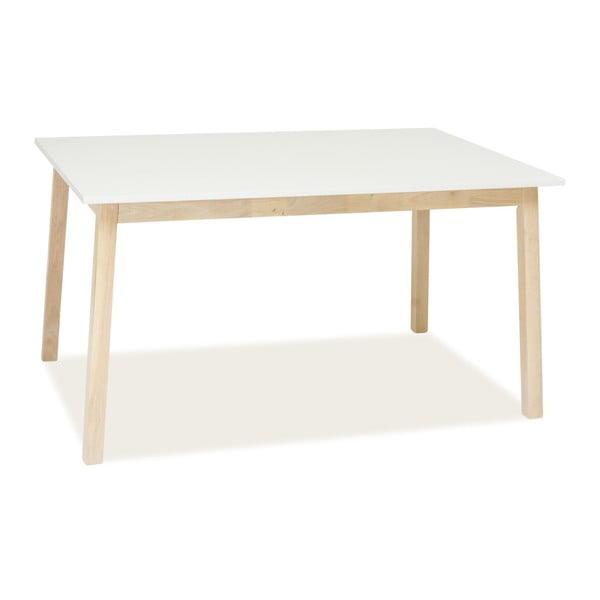 Rozkládací jídelní stůl s bílou deskou a nohama z kaučukového dřeva Signal Narvik, délka140 - 180cm