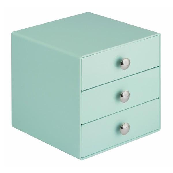 Mátově zelený úložný box s 3 šuplíky iDesign Drawers, výška16,5 cm