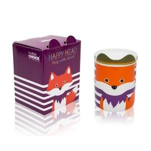 Hrnek z kostního porcelánu s víčkem Silly Design Fox Fryderyk, 280 ml