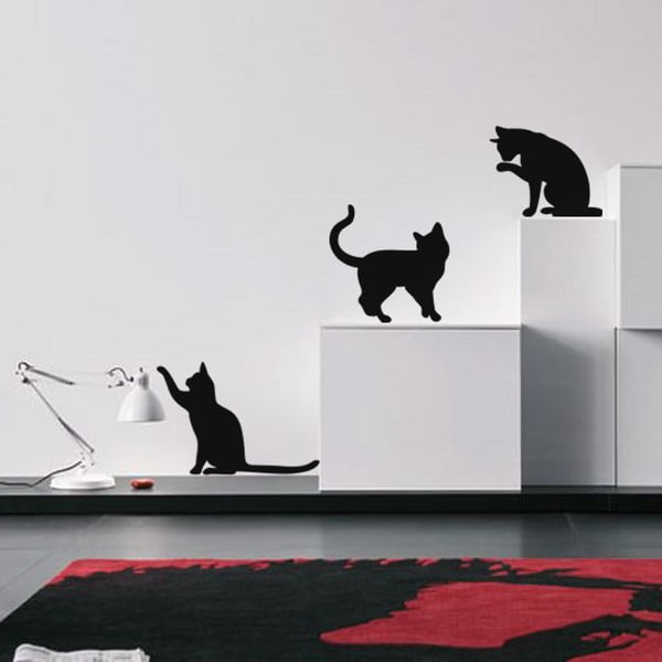 Sada 3 samolepek Ambiance Three Funny Cats