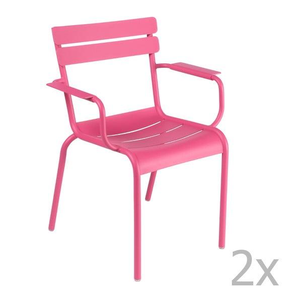 Sada 2 růžových židlí s područkami Fermob Luxembourg
