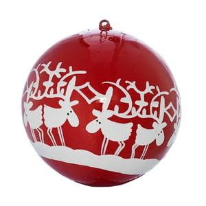 Set pěti vánočních koulí se soby, 7 cm, červená