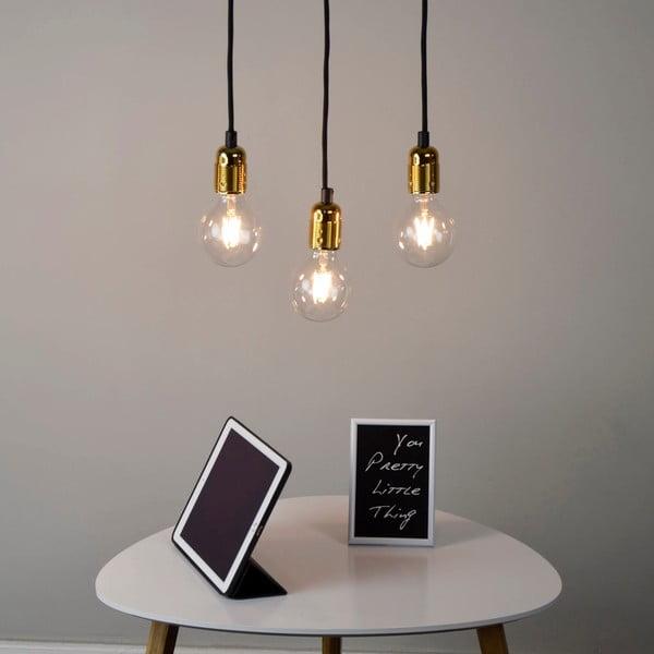 Závěsné svítidlo se 3 černými kabely a zlatou objímkou Bulb Attack Uno Basic